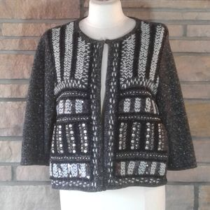 Chicos Metallic Black & Silver Cropped Cardigan